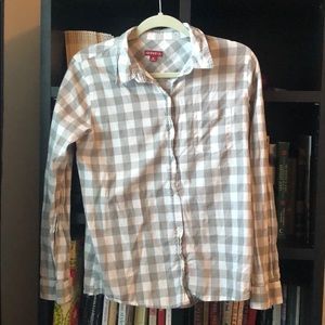 Tops - Gray and white gingham summer buttonup